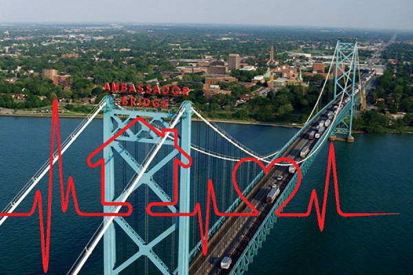 image of Ambassador Bridge superimposed with heart monitor read-out