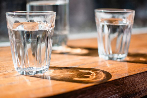 drinking glasses full of water