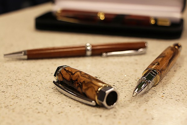 Wooden pens hand-turned by retired biology professor Michael Weis