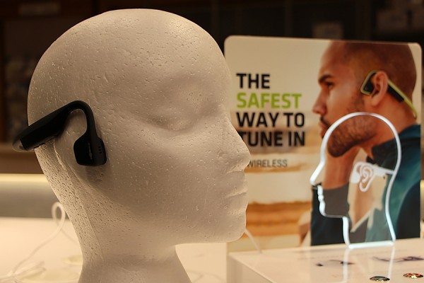 Trekz bone-conduction headphones.