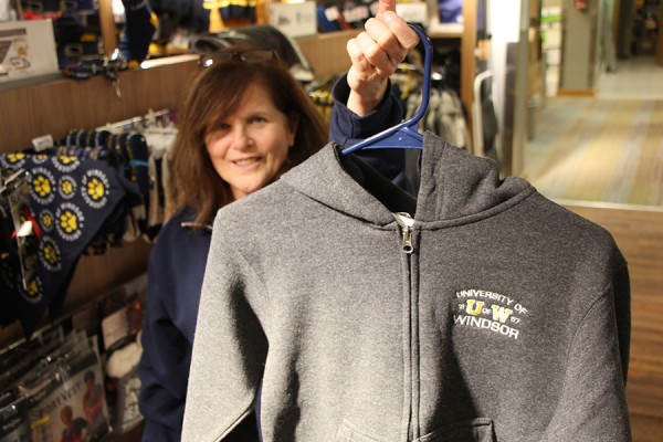 Jackie Imeson displays a youth hoodie