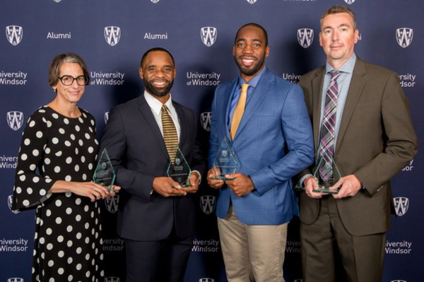 Stephanie Gouin, Arjel Franklin, Jamie Adjetey-Nelson, Steve Ray were inducted in the Alumni Sports Hall of Fame for their athletic achievements at the University of Windsor.
