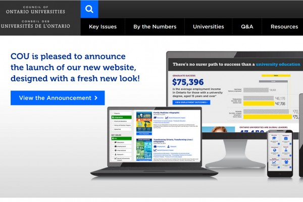 The Council of Ontario Universities' newly designed website will feature an updated look, more user-friendly navigation, a mobile-friendly design, and improved search functionality.