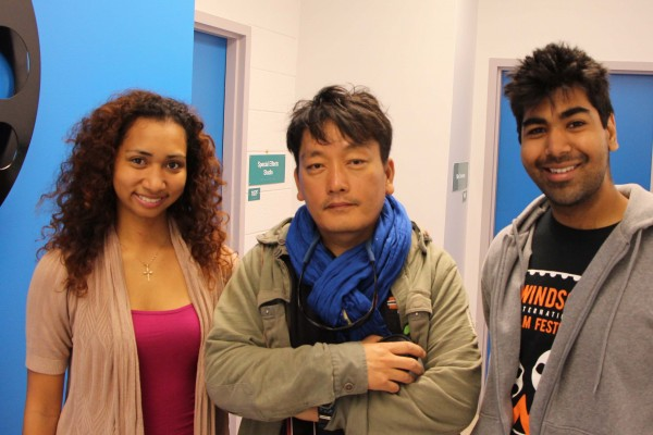 UWindsor graduates Melissa Maestre (r.) Brian Khan (l.) are among other alumni and current students who lent their talents to Stillwater, a short film directed and co-written by professor Min Bae (center).