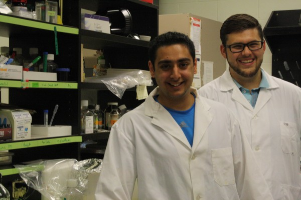 Brain cancer researchers Samer Jassar (l.) and Spencer Briguglio (r.) will join the Windsor Spring Sprint walk to help raise funds for the Brain Tumour Foundation of Canada, and to share their work progress with the public, June 13.
