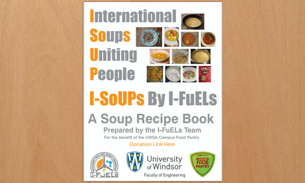 A poster promotes the soup recipe book by the I-FuELS team.