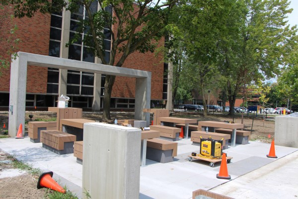 The newly installed outdoor learning pods are structured for maximum flexibility with different seating arrangement, bicycle pods, handicap accessibility, power plugs, proper lighting, and Wi-Fi access.
