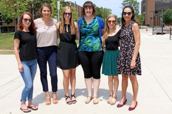 UWindsor clinical psychology students Lauren O'Driscoll, Brie Brooker, Emily Johnson, Miche Monette and Ashley Mlotek are pictured on campus with professor Dr. Josée Jarry.