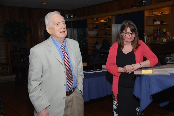 The political science professor emeritus Trevor Price (l.), who recently received the 2015 History Department Community Heritage Medal, with History professor Miriam Wright (r.), at the 2015 Botsford Dinner of the Essex County Historical Society. (Photo c