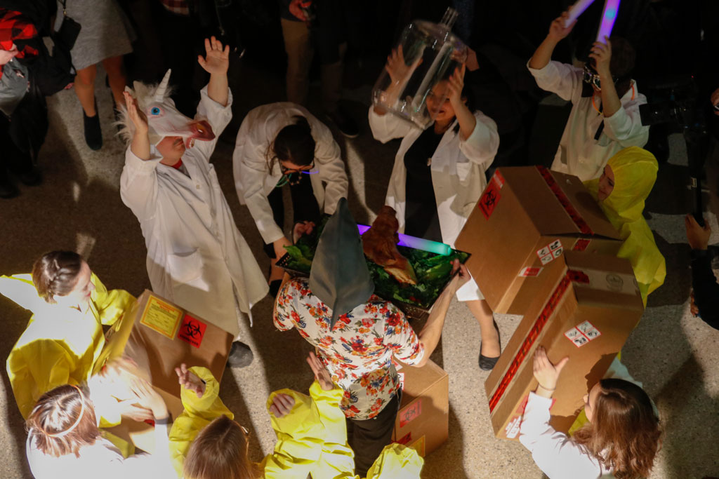 Partygoers celebrate during Feasting the Lab on Jan. 20, 2018.