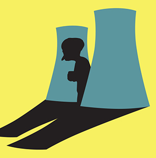 poster image: Montgomery Burns casting shadow on nuclear plant cooling towers