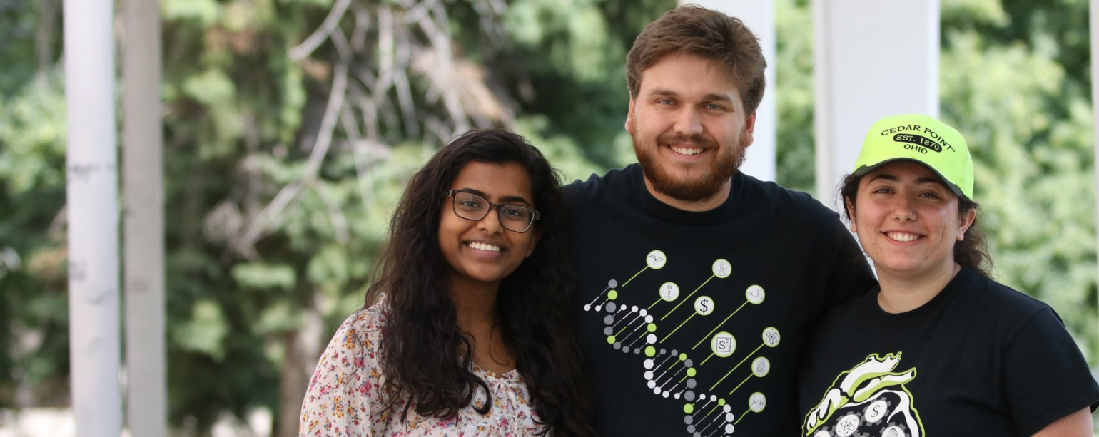 Science undergraduates Kiruthika Baskaran, Jake Frank and Layale Bazzi were all introduced to Science Academy as high school students and now help to lead the program.