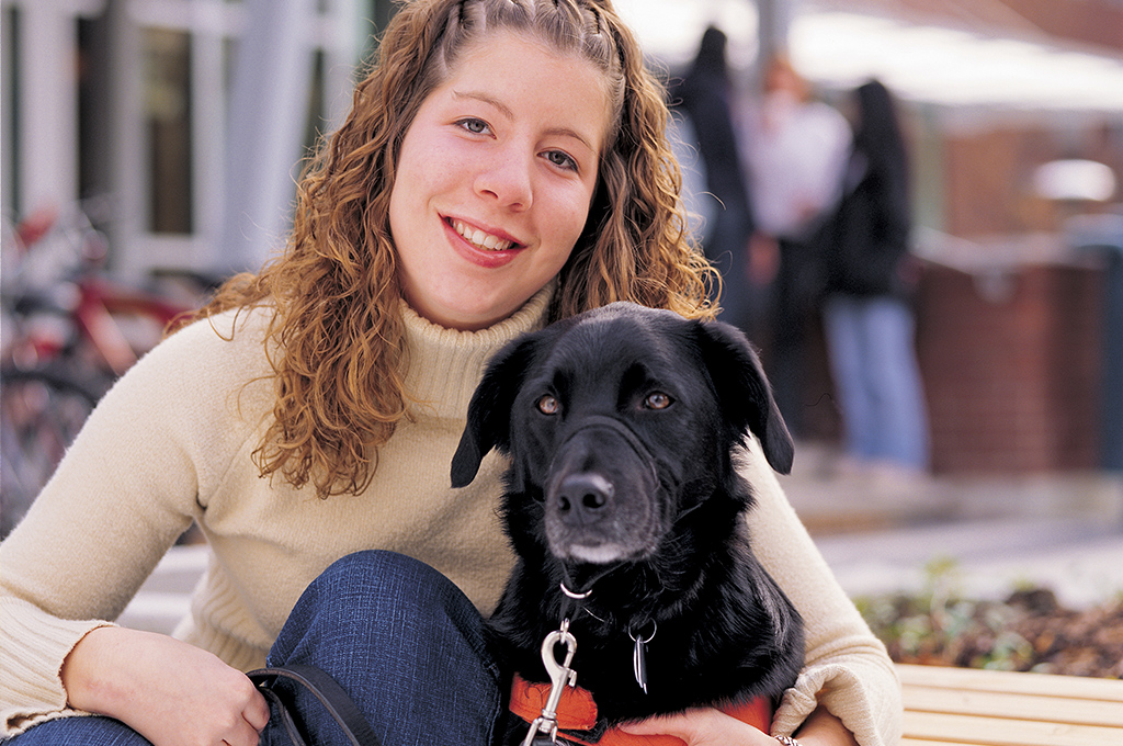 Student with guide dog
